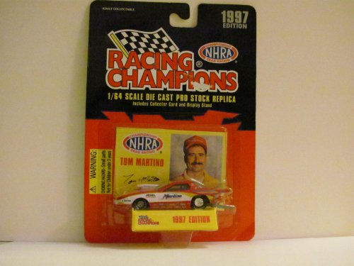 TOM MARTINO - Martino (Car - Red and White) - NHRA - 1997 Edition - RACING CHAMPIONS - 1/64 Scale Die Cast PRO STOCK Replica - Includes COLLECTOR CARD and - Ashley Hood Force