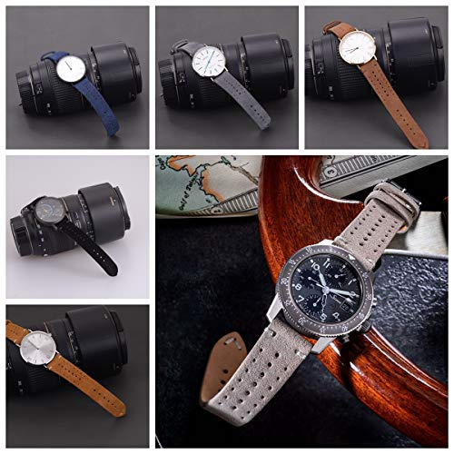 Rally Racing Leather Watch Band for Men,EACHE Leather Watch Bands Handmade Suede Leather Sport Perforated Watch Straps 18mm 20mm 22mm