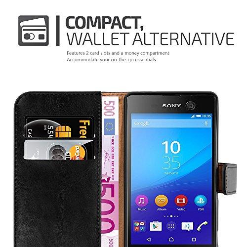 Cadorabo - Funda Estilo Book Lujo para Sony Xperia M5 con Tarjetero y Función de Soporte - Etui Case Cover Carcasa Caja Protección en NEGRO-GRAFITO NEGRO-GRAFITO