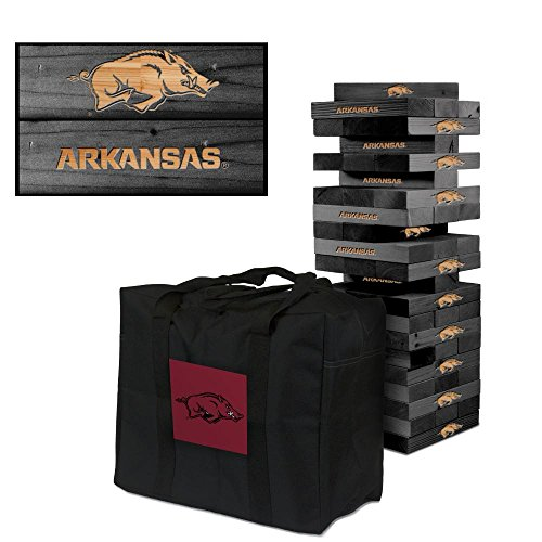 NCAA Arkansas Razorbacks Arkansas Onyx Stained Giant Wooden Tumble Tower Game, Multicolor, One Size by Victory Tailgate