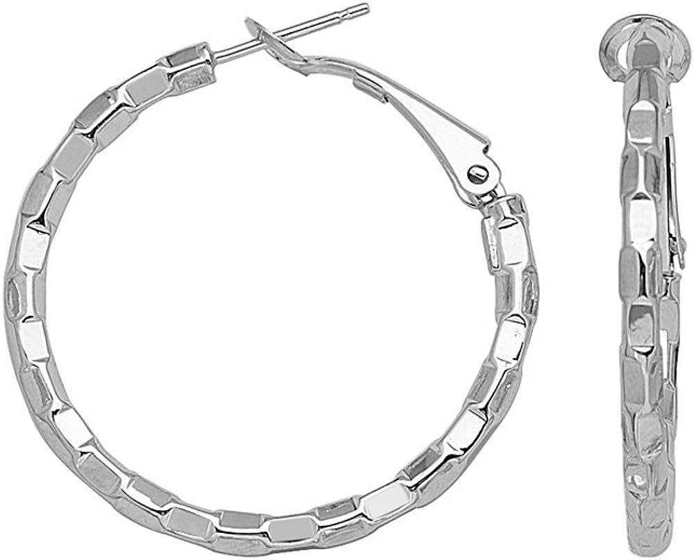14kt White Gold 30mm Fancy Faceted Hoop Earrings