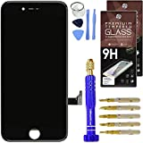 """Cell Phone DIY iPhone 7 Screen Replacement 4.7"""" Black, LCD Touch Screen Digitizer Assembly Set + Premium Glass Screen Protector + Free Repair Tool Kit"""