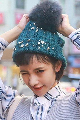 Generic Korean_style_of autumn winter _woman_wool hat Korean_ winter _tide_point_drill hair ball_hand-knitting hat warm hat leisure (Drill Wool Hat)