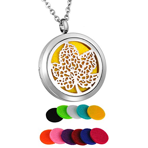 Steel Surgical Pendant Round - HooAMI Aromatherapy Essential Oil Diffuser Necklace Maple Leaf Round Stainless Steel Locket Pendant
