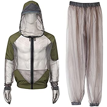 Gray 2XL Anti-mosquito Mesh Clothing Bee Bug Repellent Suit