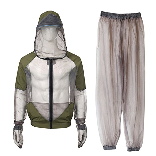 EASY BIG Bug Jacket Mosquito Suit - Ultra-fine Mesh Summer Bug Wear for Men and Women, Fishing, Hiking, Camping, Gardening (L for Chest:48.03