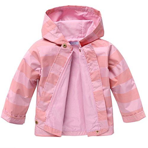 Arshiner Girls Baby Waterproof Hooded Winter Warm Coat Jacket Outwear Trench,90(1-2Y),Pink
