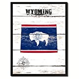 Wyoming State Vintage Flag Canvas Print Black Picture Frame Gift Ideas Home Decor Wall Art Decoration Gift Ideas