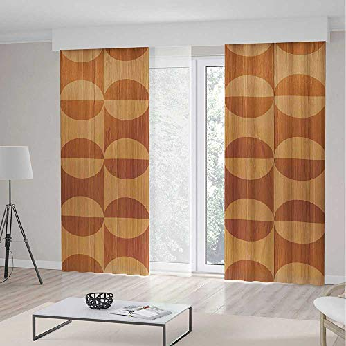iPrint Rustic Home Decor Room Decor Curtains,Abstract Oak Plank Pattern Tiled Bound Lines Oval Curves Image,Window Drapes 2 Panel Set, Living Room Bedroom,197 W 84 L,Orange (Beaded Oval Privacy Set)