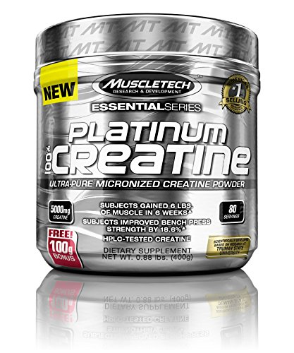 MuscleTech Platinum 100% Creatine, Ultra Pure Micronized Creatine Powder, Unflavored, 14.11 Oz (400 Grams)