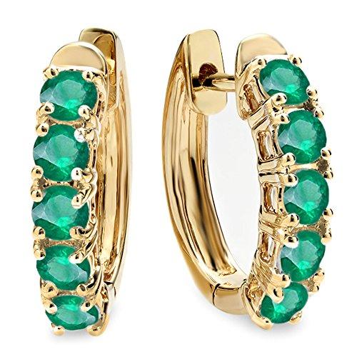 - Dazzlingrock Collection 1.00 Carat (ctw) 18K Round Emerald Ladies Huggies Hoop Earrings 1 CT, Yellow Gold