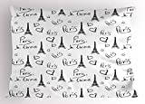 Ambesonne Paris Pillow Sham, World Capital City of Love French European Hand Drawn Sketch Eiffel Illustration, Decorative Standard Size Printed Pillowcase, 26 X 20 inches, Black White