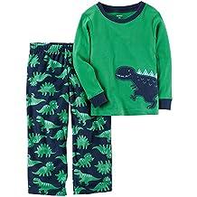 Carter?s 2-Piece Boys Fleece Pajamas Top and Pants Winter Set (Dinosaur Green/Navy, 3T)