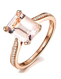 1.50 Carat Morganite and Diamond Halo Engagement Ring in Rose Gold