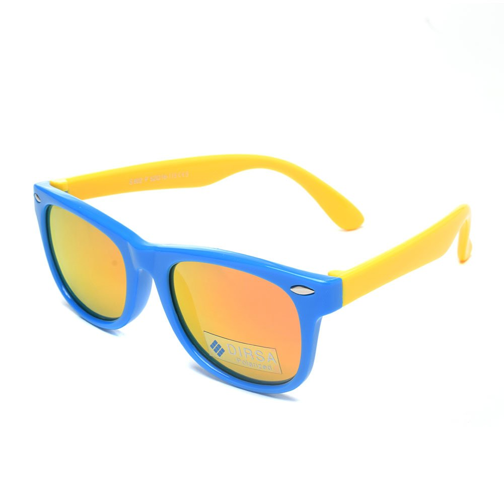 3d62095d605 DIRSA Mirrored Lens Polarized Sunglasses Rubber Flexible Frame For Kids Age  3-10 black)