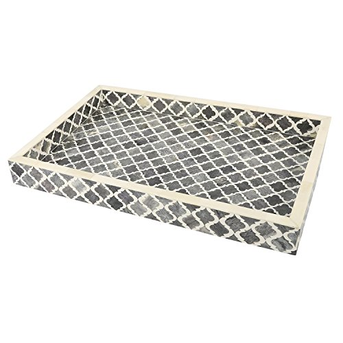 Handicrafts Home Decorative Tray Inspired by Vintage Moorish Moroccan Art Handmade Naturals Bone Inlay Quatrefoil Designer All Purpose Serving Tray, Breakfast, Coffee, Table Top from (Grey & White) ()