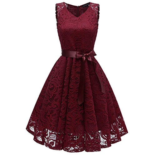 Minisoya Women Casual Vintage Cocktail Prom Party Floral Lace Dress Ball Gown Formal Bridesmaid Flare Swing Dress (Wine, 2XL) by Minisoya