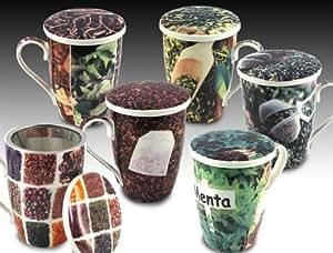 Signes Grimalt - Mug x6 Te Con Filtro y Tapa 12 cm 37766SG