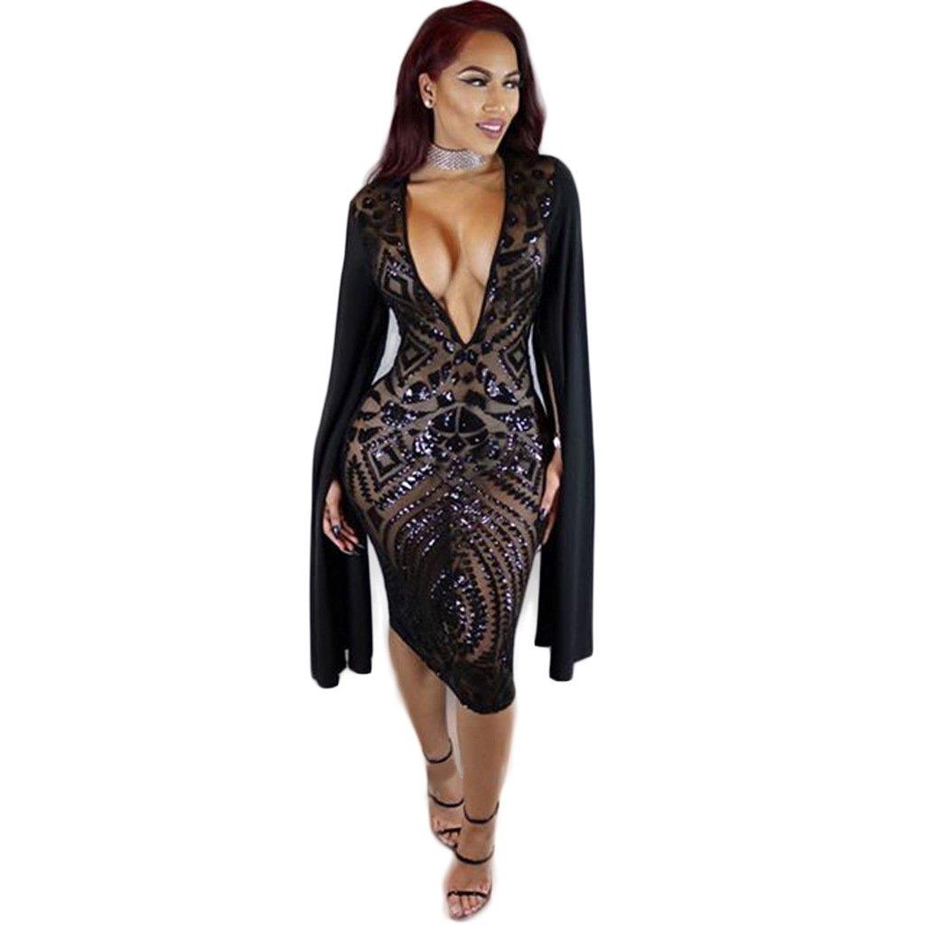 Star Han False Long Sleeve Deep V-Neck Sequins Club Dress (Medium)