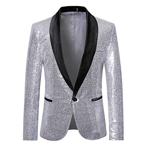MAGE MALE Mens Tails Slim Fit Tailcoat Sequin Dress Coat Swallowtail Dinner Party Wedding Blazer Suit Jacket (X35-Silver, L)