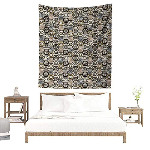 (Agoza Floral Tapestry Victorian Damask Baroque Hexagon Rococo Interlocking Abstract Design Tapestry for Home Decor 60W x 80L INCH Pale Coffee Tan Warm Taupe)