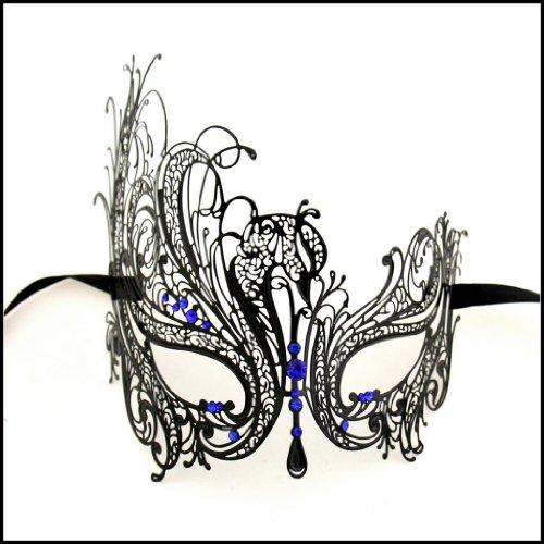 [Luxury Mask Women's Swan Metal Filigree Laser Cut Venetian Masquerade Mask, Black/Blue Stones, One] (Blue Mardi Gras Mask)