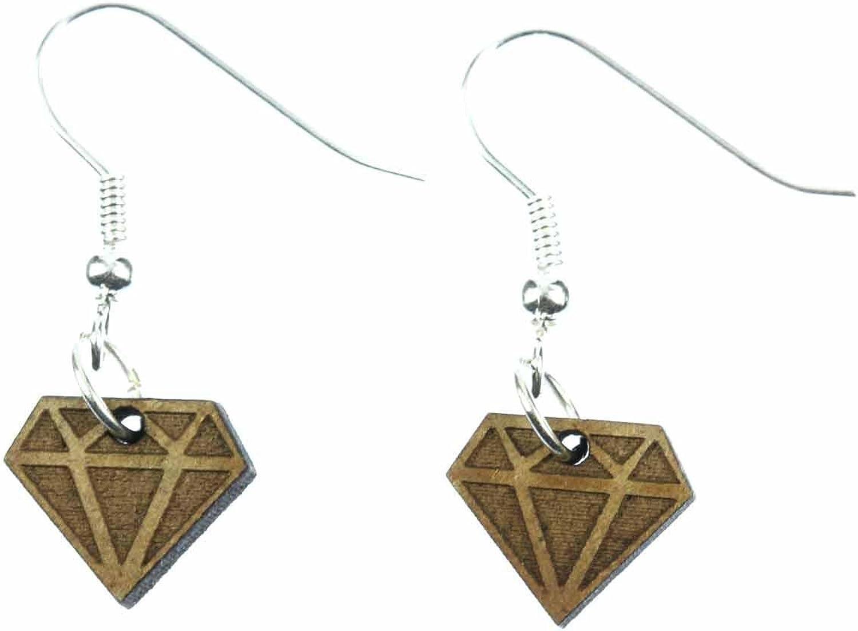 Diamond Miniblings suspensión de los pendientes de piedras preciosas rubí brillante madera de color marrón