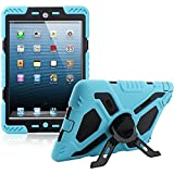 (US) Y&M(TM) Ipad Mini Case,Extreme Military Heavy Duty Waterproof Dust/Shock Proof with stand Hang Cover Tablets Hybrid Hard Army Case For iPad Mini1/Mini2/Mini3 (blue/black)