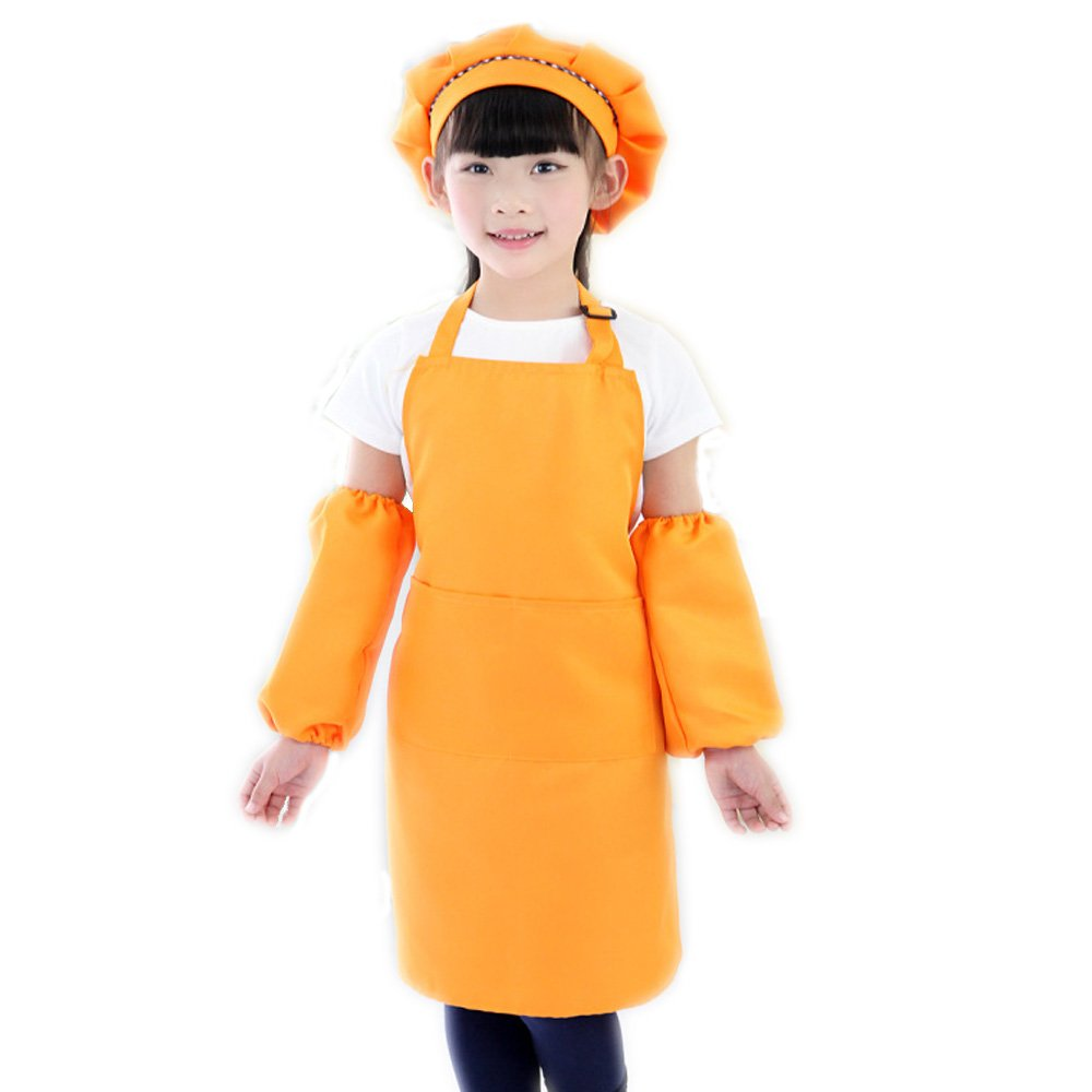 Children Kids Chef Hat,Sleevelet And Apron with Pockets Adjustable Neck strapsfor Kitchen, Classroom Community Event Party Crafts Art Painting EVERDESIGN
