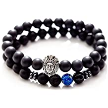Gems of Peace - 8mm Matte Black Indian Earth Bracelet for Men
