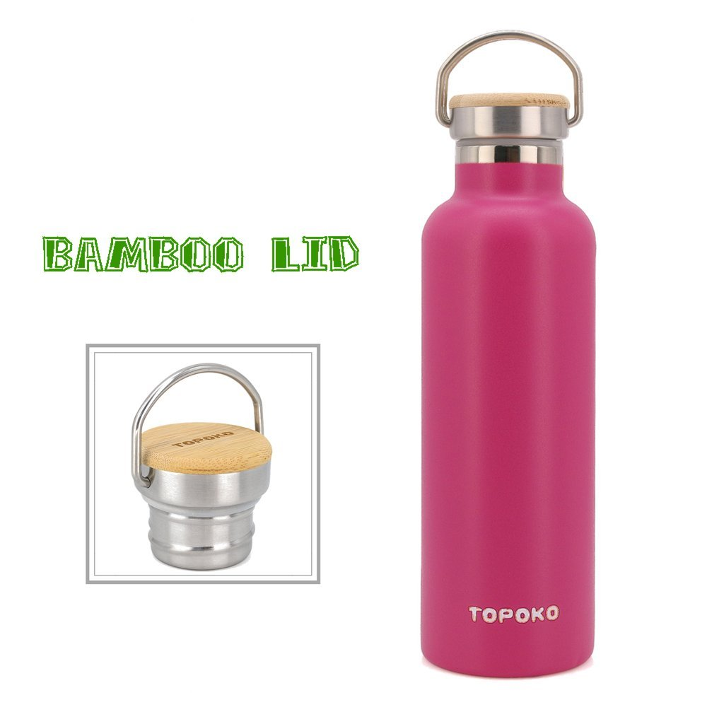 TOPOKO 25 oz Stainless Steel Vacuum Insulated Water Bottle, Keeps Drink Cold up to 24 Hours & Hot up to 12 Hours, Leak Proof and Sweat Proof. Large Capacity Sports Bottle (Pink)