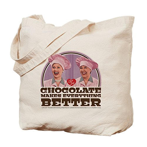 CafePress I Love Lucy: Chocolate Makes Everything B Natural Canvas Tote Bag, Cloth Shopping Bag