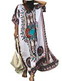 Women White Bathing Suits Cover Up Ethnic Print Kaftan Beach Maxi Dress