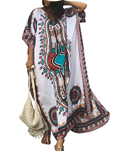 Ethnic Caftan - Bsubseach Women White Bathing Suits Cover Up Ethnic Print Kaftan Beach Maxi Dress