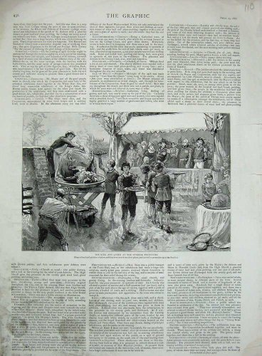 Windsor Plum - old-print Print 1887 King Queen Windsor Festivities Plum Pudding 110N729