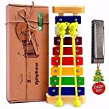 Xylophone for Kids: Best Holiday/Birthday DIY Gift Idea for your Mini Musicians, Musical Toy with Child Safe Mallets, Perfectly Tuned Instrument for Toddlers, Musical Cards and Harmonica Included