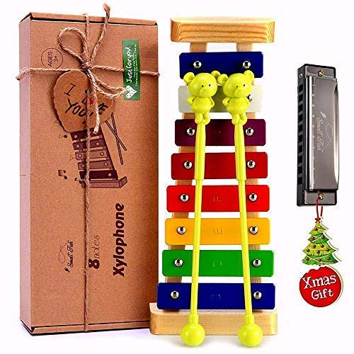 Xylophone for Kids: Best Holiday/Birthday DIY Gift Idea for your Mini Musicians, Musical Toy with Child Safe Mallets, Perfectly Tuned Instrument for Toddlers, Musical Cards and Harmonica Included -