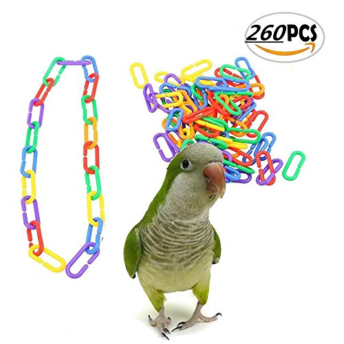 WANGDAFANG 260 PCS Parrot Bird Toy Plastic C-clips Hooks Chain Bird Toy Cage Parts for Parrot Conures African Grey Conure Cockatiel ()