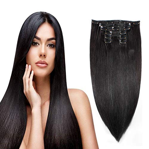 r Extentions Real Human Hair 22Inches 100G Clip On For Fine Hair Full Head 7 Pieces Silky Straight Weft Remy Hair (22inches, Natural Black #1B) ()