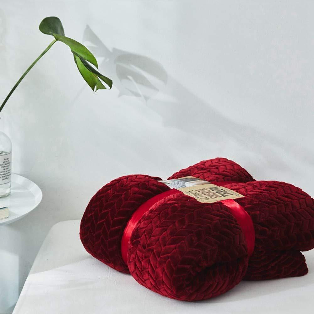 Yunyilian スーパーソフトふわふわエンボスブランケット暖かいソファチェック柄秋冬毛布寝具赤 (Color : 200×230cm) B07T6F5Q87 200×230cm
