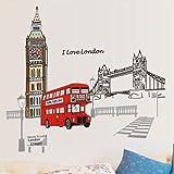 ufengke® Pont Londres Big Ben Tour Stickers Muraux, Salle de Séjour Chambre à Coucher Autocollants Amovibles