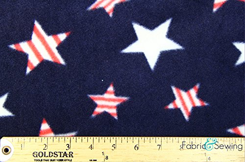 Oh My Patriotic Stars Anti-Pill Polar Fleece - Plush Fabric Polyester 13 Oz ()