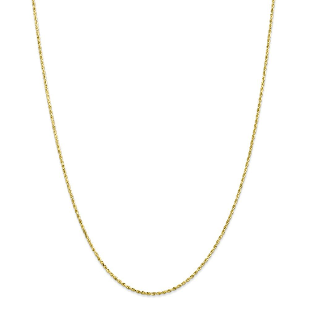 1.6mm 10k Gold Solid Diamond-Cut Rope Chain Necklace with Lobster Clasp