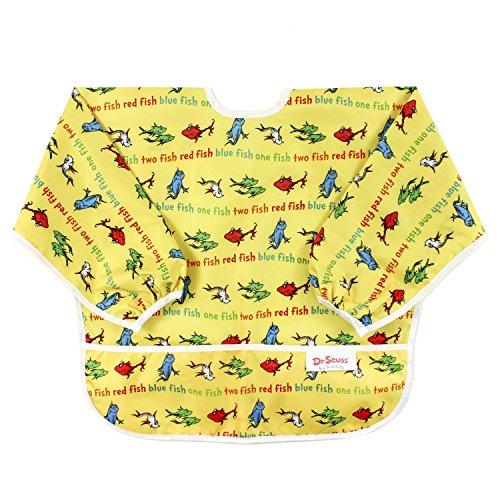 Bumkins Dr. Seuss Waterproof Sleeved Bib, Yellow Fish (6-24 - Seuss Fish Yellow