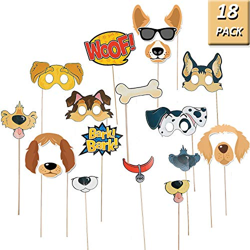 OuMuaMua Puppy Dog Party Costume Props - 18 Pack Dog Photo Booth Props for Dog Themed Birthday Party Decorations -