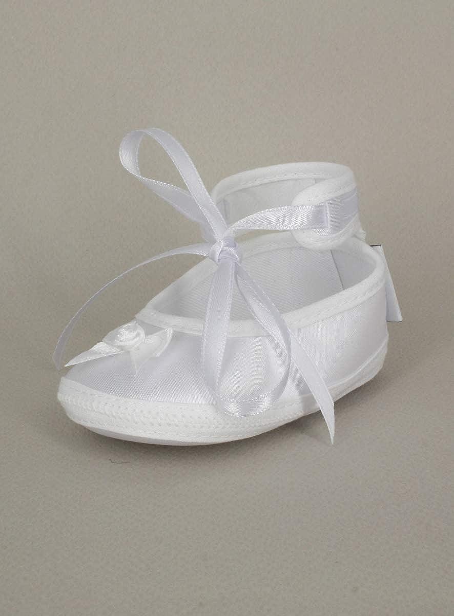 Boutique-Magique Chaussons Blanc b/éb/é Fille pour bapt/ême ou Mariage en Satin