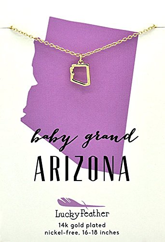 "Lucky Feather Arizona Shaped State Necklace, 14K Gold-Dipped Pendant on Adjustable 16""-18"" Chain from Lucky Feather"