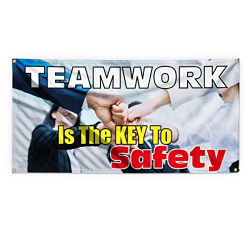 Teamwork Edge - Teamwork Is The Key To Safety Outdoor Advertising Printing Vinyl Banner Sign With Grommets - 3ftx6ft, 6 Grommets