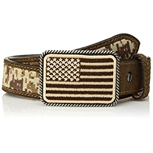 Ariat Boy's Sport Patriot w/USA Flag Buckle Belt (Little Kids/Big Kids) Med Brown 24″ Waist