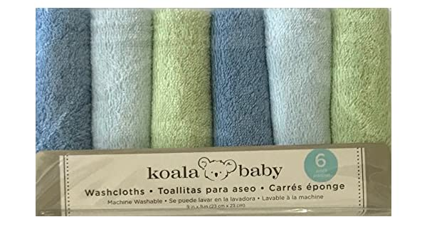 Amazon.com : 6 Pack Koala Baby Boys Blue and Green Baby Washcloths Facecloths : Baby